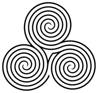 Three equal-size circles made of spirals, woven into each other