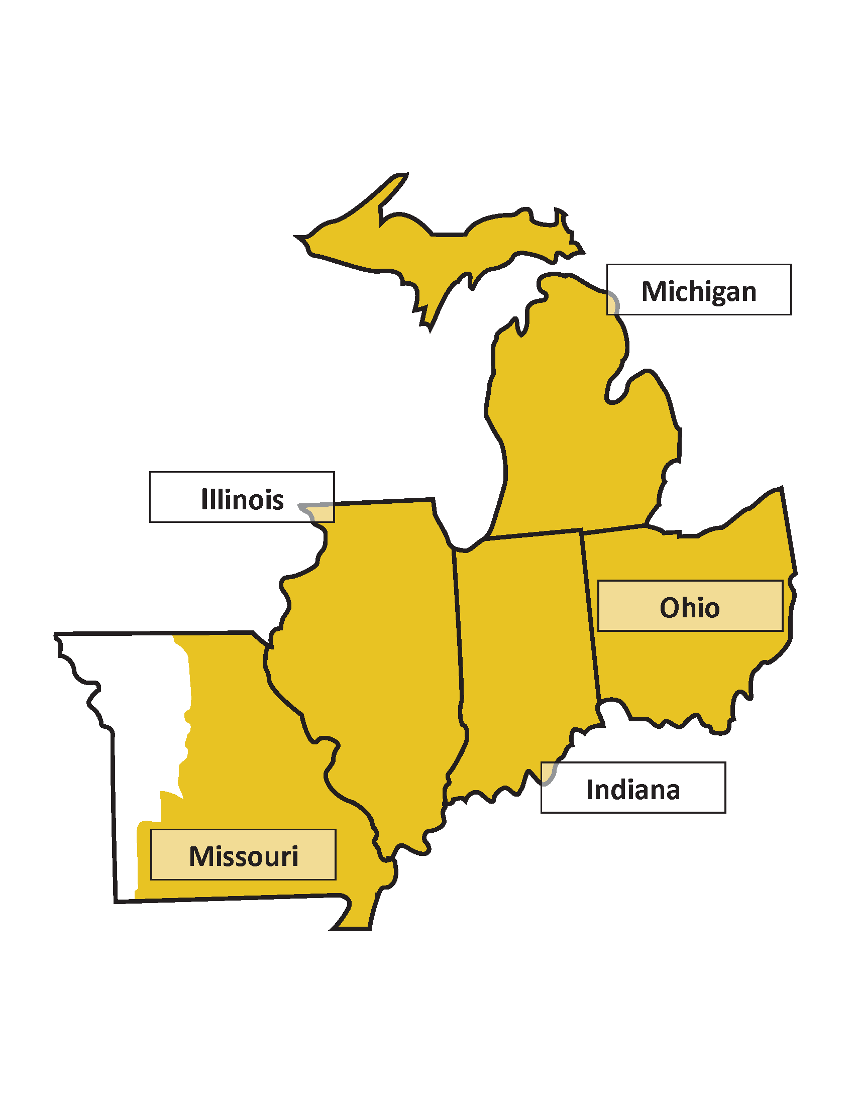 Map of the AAR Midwest Region