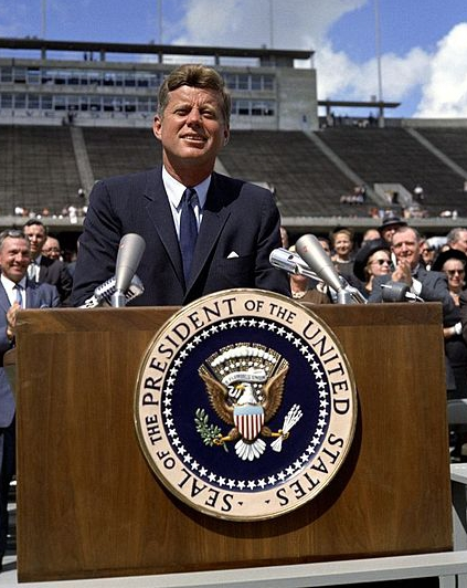 "President John F. Kennedy speaks on the nation's space effort, Rice University, Houston, Texas. September 12, 1962. <a target=""_blank"" href=""http://www.jfklibrary.org/Asset-Viewer/hYKwiWQ4G0KLsBpx8r4ugw.aspx"">JFK Library Online</a>"