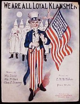 "Teaching American minority religions through the lens of religious intolerance. Image: Cover of sheet music for the song, ""We are all Klansmen"" (1923). By Bcrowell at en.wikipedia [Public domain], from <a target=""_blank"" href=""http://commons.wikimedia.org/wiki/File:Klan-sheet-music.jpg"">Wikimedia Commons</a>"
