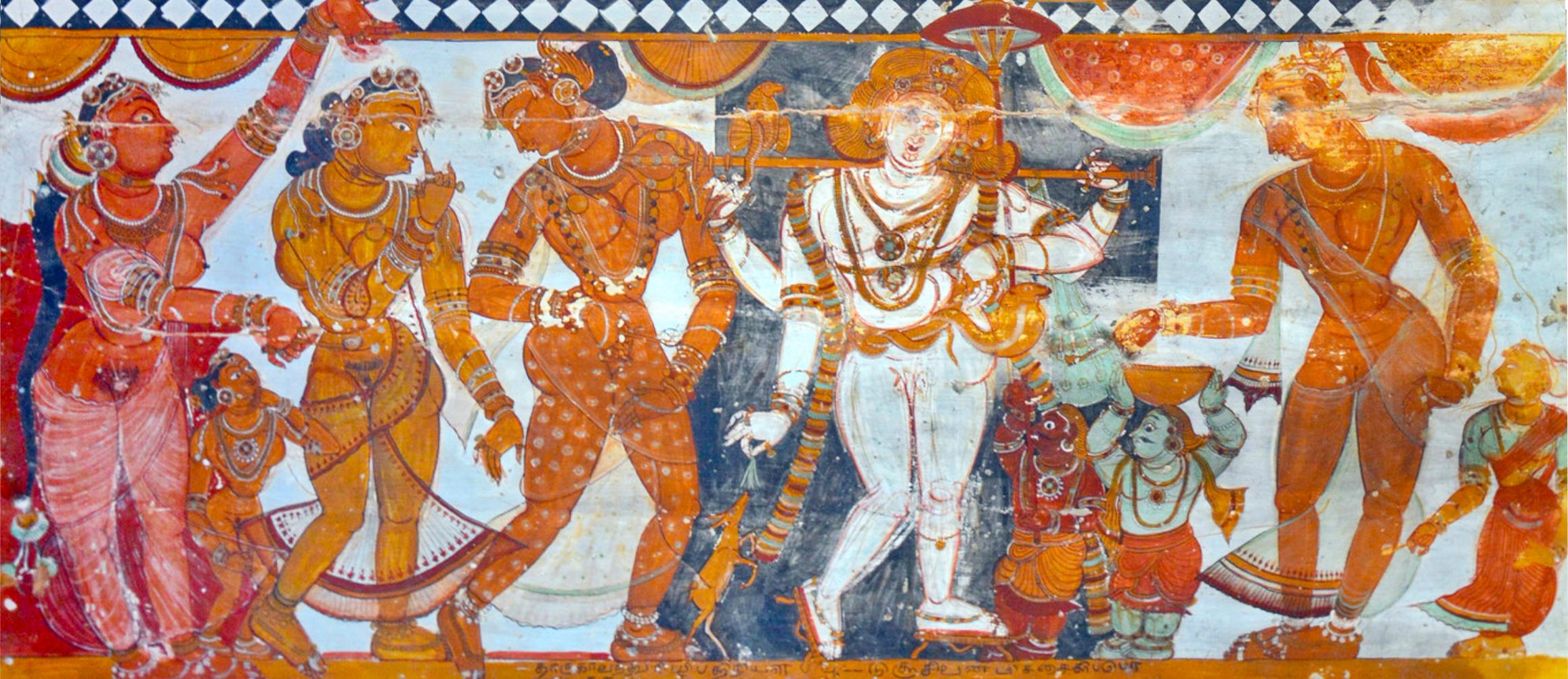 detail of a ceiling mural at Shivakamasundari temple in Chidamnaram