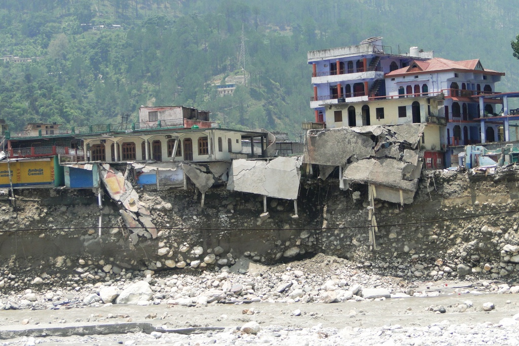 Photo of destroyed businesses and homes along the Bhagirathi river, which were flooded in June 2013.