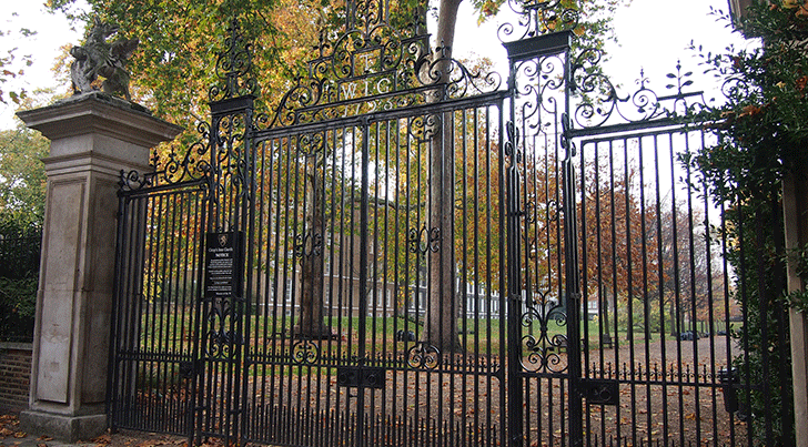 large, decorative iron gate