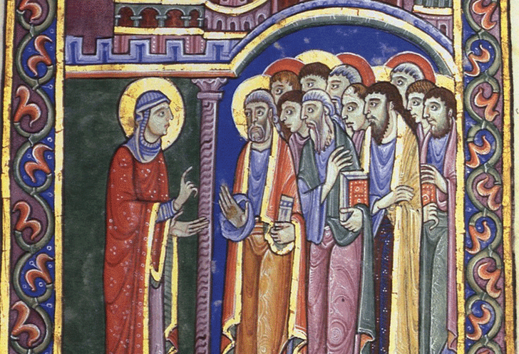 Illuminated manuscript page, Mary Magdalene announcing the Resurrection to the Apostles, St. Albans Psalter, 12th century
