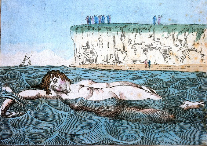 Venus's Bathing (Margate) A woman swimming in the sea; in the background people are looking out to sea from cliffs and a beach. The lettering says; Side Way or any Way. Etching by Thomas Rowlandson, ca. 1800