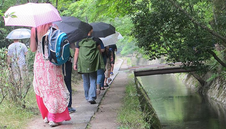 Row of students with umbrellas blocking the sun walking alongside a pond at Tetsugaku-no-Michi in Kyoto, Japan