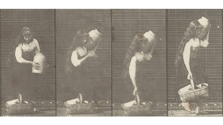 four stills of a draped woman carrying a jar on her shoulder and a basket in her hand