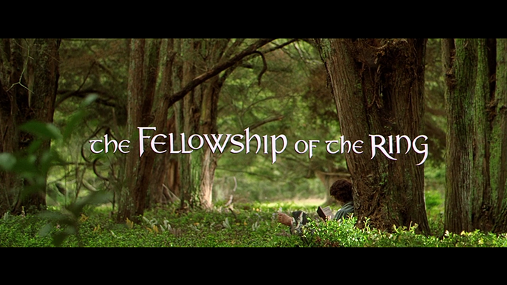Opening title screen of the film (2001) The Lord of the Rings: Fellowship of the Ring