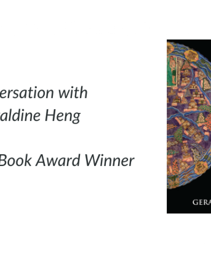 """Text of image: """"Conversation with Geraldine Heng, 2019 AAR Book Award Winner"""" with cover of Heng's book, """"The Invention of Race in the European Middle Ages"""""""