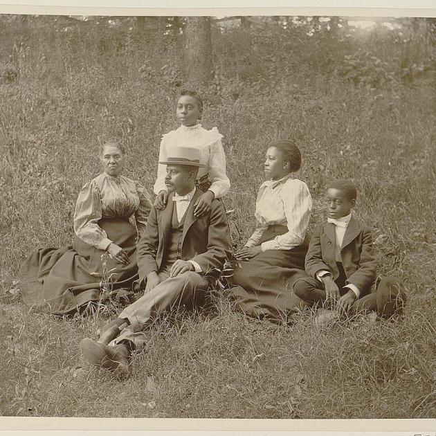African American outdoor family portrait, c.1899