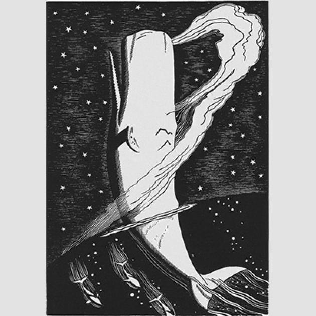 An image of one of Rockwell Kent's 1930 illustrations of Moby Dick. Depicts the whale rising high out of the water, with large arc of water from the whale's blowhole.