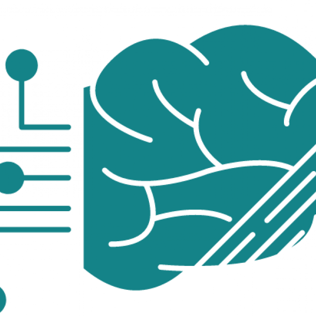 icon graphic of a stylized brain with digital spokes emerging from it