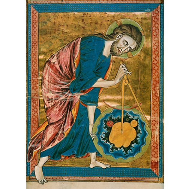 "Prefatory miniature from a moralized Bible of ""God as architect of the world"", folio I verso, Paris ca. 1220–1230. Ink, tempera, and gold leaf on vellum 1' 1½"" × 8¼"". Public Domain."