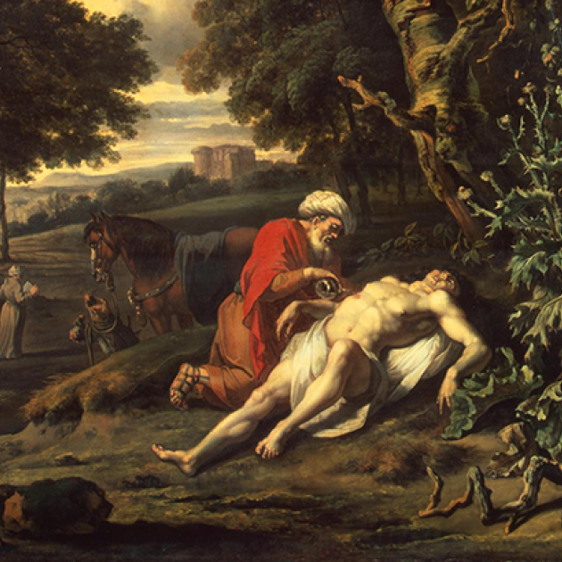 """Parable of the Good Samaritan."" Oil on canvas. Jan Wijnants, 1670."