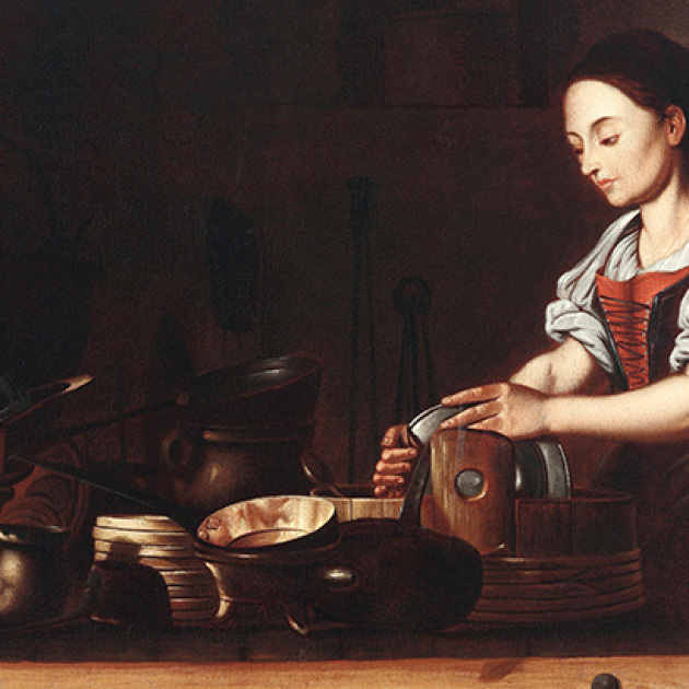 Painting, attributed to Spanish school of the 17th century, of a kitchen maidservant working