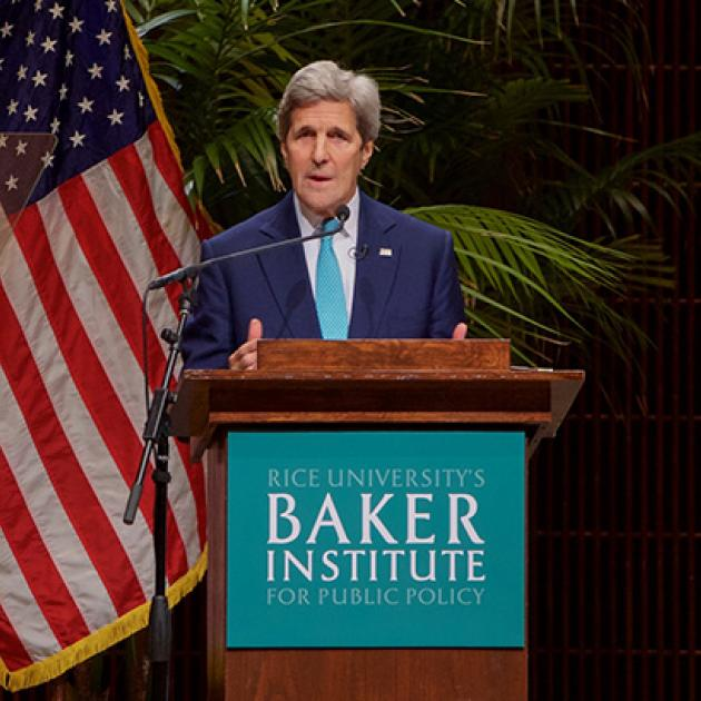 Secretary of State John Kerry speaking at the podium during a speech to the Baker Institue of Public Policy at Rice University