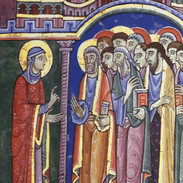 Image: Mary Magdalene announcing the Resurrection to the Apostles, St. Albans Psalter, 12th century (illuminated manuscript page)