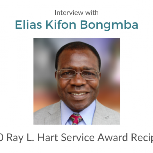 "Photo of Elias Bongbmba with text, ""An interview with Elias Kifon Bongmba 2020 Ray L. Hart Service Award Recipient"""