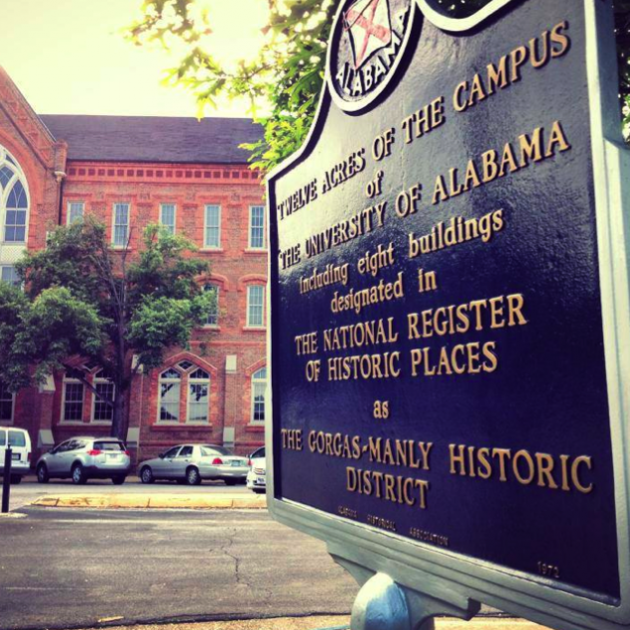 Historic Marker of the Manly District on the campus of the University of Alabama