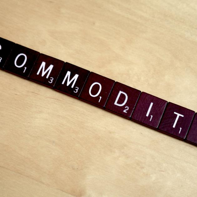 """Commodity"" spelled out in Scrabble"