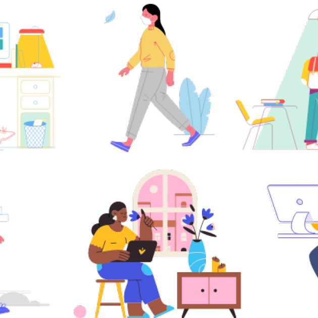 a collage of illustrations, clockwise from left: woman at a desk facing a desktop screen with faces in the conference window; woman walking and wearing a mask and yellow sweater; man with a backpack faces a bookshelf; man in a cap and mask walks while carrying a tote bag; a woman sitting with a laptop on her lap and sniffing a flower in front of a large window; a man faces his computer and gestures as if he's speaking