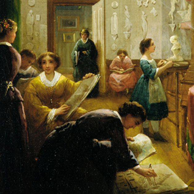 "Oil on canvas painting, ""Women's Art Class"" by Louis Lang (c. 1868). Seven women painting in a salon."