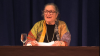 Wendy Doniger delivering her 2015 Haskins Prize Lecture on May 8, 2015, in Philadelphia, PA