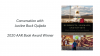 """Image that reads """"Conversation with Justine Buck Quijada, 2020 Book Award Winner"""" with a cover of her book next to it"""