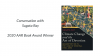"""On a white background, text appears on the left """"Conversation with Sugata Ray 2020 AAR Book Award Winner"""" and on the right is the image of his book's cover"""