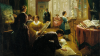 """Oil on canvas painting, """"Women's Art Class"""" by Louis Lang (c. 1868). Seven women painting in a salon."""